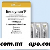 Биосулин р 100ед/мл 3мл n5 картридж