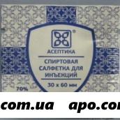 Салфетка антисепт спиртовая 30х60мм n20