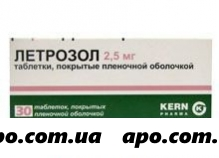 Летрозол 0,0025 n30 табл п/плен/оболоч