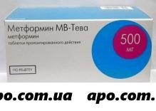 Метформин мв-тева 0,5 n60 табл пролонг